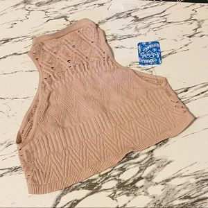 Free People So Bright Tan Seamless High Neck Top